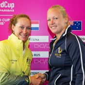 Sam Stosur (L) and Kiki Bertens at the official draw ceremony for the Australia v Netherlands 2015 Fed Cup World Group Play-off tie in 's-Hertogenbosch; Kenk Koster
