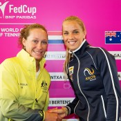 Sam Stosur (L) and Arantxa Rus at the official draw ceremony for the Australia v Netherlands 2015 Fed Cup World Group Play-off tie in 's-Hertogenbosch; Kenk Koster