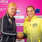 Jarmila Gajdosova (R) and Kiki Bertens at the official draw ceremony for the Australia v Netherlands 2015 Fed Cup World Group Play-off tie in 's-Hertogenbosch; Kenk Koster
