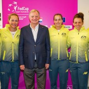 The Australian team at the official draw ceremony for the Australia v Netherlands 2015 Fed Cup World Group Play-off tie in 's-Hertogenbosch; Kenk Koster