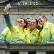 Australia's Fed Cup team of (L-R) Jarmila Gajdosova, Casey Dellacqua, captain Alicia Molik, Sam Stosur and Olivia Rogowska take a selfie at the official draw ceremony ahead of their 2015 World Group Play-off tie against the Netherlands in 's-Hertogenbosch; Henk Koster