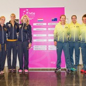 The Dutch (L) and Australian teams at the official draw ceremony for the Australia v Netherlands 2015 Fed Cup World Group Play-off tie in 's-Hertogenbosch; Kenk Koster