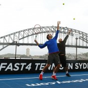 Roger Federer (L) and Lleyton Hewitt promote the new FAST4 format of tennis in Sydney in January 2015; Getty Images