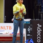 Australian captain Alicia Molik shows her support during the Netherlands v Australia Fed Cup World Group Play-off tie in 's-Hertogenbosch; Henk Koster
