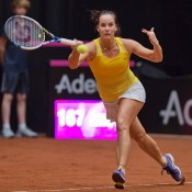 Jarmila Gajdosova in action during the Netherlands v Australia Fed Cup World Group Play-off tie in 's-Hertogenbosch; Henk Koster
