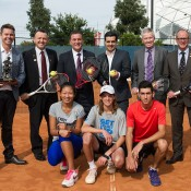 Attending the launch of the 2015 Gallipoli Youth Cup at Melbourne Park were (back row, L-R) Todd Woodbridge, GYC Ambassador Oscar Yildiz, Victorian Minister for Sport Hon John Eren, GYC founder Umit Oraloglu, Tennis Australia CEO Craig Tiley, RSL Victoria CEO Michael Annett and (front row, L-r) competitors Jeanette Lin, Matthew Romios and Ismail Bagdas; pic credit/Elizabeth Xue Bai