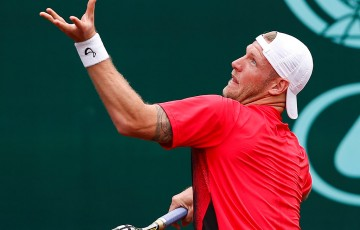 Sam Groth in action at the US Men's Clay Court Championship in Houston, Texas; photo credit Aaron M. Sprecher/ROCC
