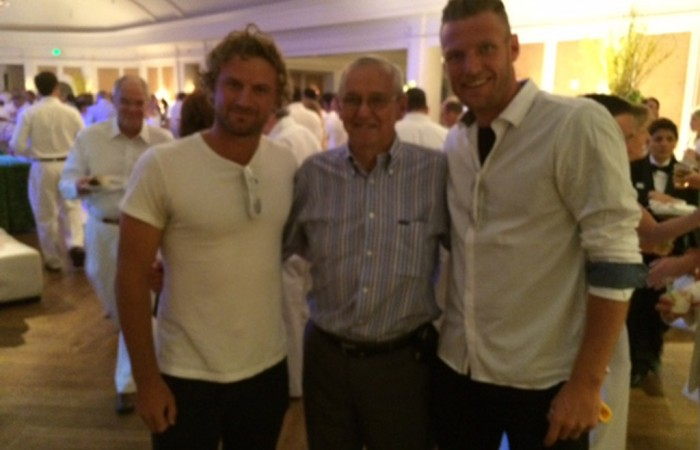 Sam Groth (R) and Matt Reid (L) at the player party prior to the US Men's Clay Court Championship in Houston, Texas; Greg Sharko