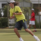 Matthew Romios in action for Australia during the Junior Davis Cup Asia/Oceania final qualifying event in Shepparton, Victoria; Trevor Phillips