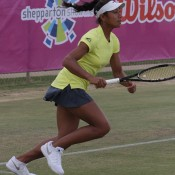 Destanee Aiava in action for Australia during the Junior Fed Cup Asia/Oceania final qualifying event in Shepparton, Victoria; Trevor Phillips