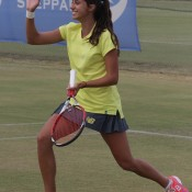 Jaimee Fourlis in action for Australia during the Junior Fed Cup Asia/Oceania final qualifying event in Shepparton, Victoria; Trevor Phillips