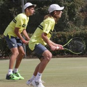 Australians Matthew Romios (R) and Alex De Minaur in Junior Davis Cup doubles action at the Asia/Oceania final qualifying event in Shepparton; Trevor Phillips
