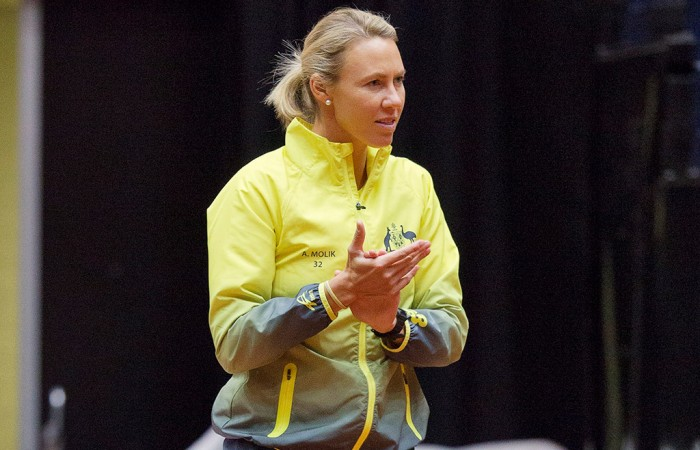 Australian captain Alicia Molik supports her team from the sidelines during the Netherlands v Australia Fed Cup World Group Play-off tie in 's-Hertogenbosch; Henk Koster