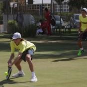 Australians Matthew Romios (L) and Alex De Minaur in Junior Davis Cup doubles action at the Asia/Oceania final qualifying event in Shepparton; Trevor Phillips
