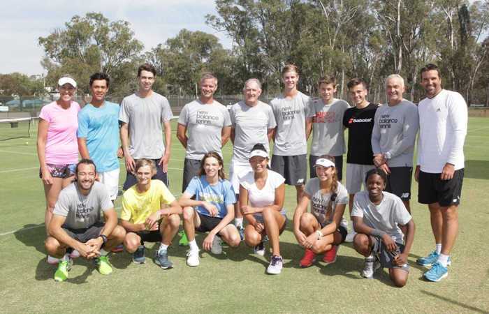 Australian tennis legends and Australia's Junior Davis Cup and Junior Fed Cup teams pose for photos following a team training session at Shepparton Lawn Tennis Club; Trevor Phillips