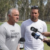 Wally Masur (L) and Pat Rafter take part in a media opportunity at Shepparton Lawn Tennis Club; Trevor Phillips