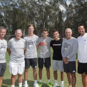 (L-R) Ben Pyne, Tony Roche, Blake Ellis, Alex De Minaur, Lucas Vuradin, Wally Masur and Pat Rafter at Shepparton Lawn Tennis Club; Trevor Phillips