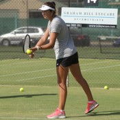 Petra Hule takes part in a practice session ahead of the Junior Davis Cup and Junior Fed Cup Asia/Oceania qualifying competition at Shepparton Lawn Tennis Club; Trevor Phillips