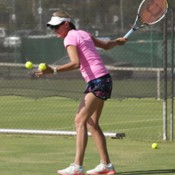 Nicole Bradtke takes part in a practice session ahead of the Junior Davis Cup and Junior Fed Cup Asia/Oceania qualifying competition at Shepparton Lawn Tennis Club; Trevor Phillips