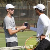Blake Ellis (L) and Pat Rafter take part in a practice session ahead of the Junior Davis Cup and Junior Fed Cup Asia/Oceania qualifying competition at Shepparton Lawn Tennis Club; Trevor Phillips