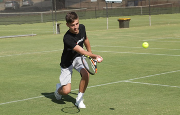 Lucas Vuradin takes part in a practice session ahead of the Junior Davis Cup and Junior Fed Cup Asia/Oceania qualifying competition at Shepparton Lawn Tennis Club; Trevor Phillips