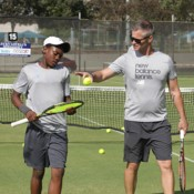 Benard Nkomba (L) and Ben Pyne take part in a practice session ahead of the Junior Davis Cup and Junior Fed Cup Asia/Oceania qualifying competition at Shepparton Lawn Tennis Club; Trevor Phillips