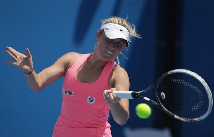 MELBOURNE, AUSTRALIA - JANUARY 19:  Storm Sanders of Australia plays a forehand in her first round match against Klara Koukalova of the Czech Republic during day one of the 2015 Australian Open at Melbourne Park on January 19, 2015 in Melbourne, Australia.  (Photo by Wayne Taylor/Getty Images)