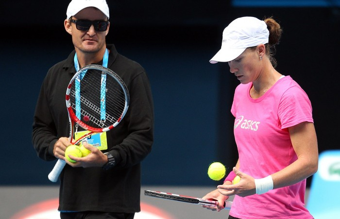 Sam Stosur trains with David Taylor ahead of Australian Open 2012; Getty Images