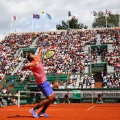 Nick Kyrgios in action during his third round loss to No.3 seed Andy Murray on Court Suzanne Lenglen; Getty Images