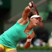 Sam Stosur in action during her third round loss to No.2 seed Maria Sharapova on Court Philippe Chatrier; Getty Images