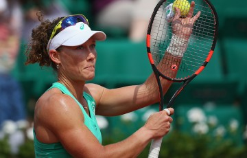 Sam Stosur celebrates her second round victory over Amandine Hesse; Getty Images