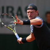 Sam Groth in action during his first round loss to 21st seed Pablo Cuevas; Getty Images