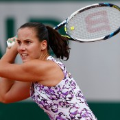 Jarmila Gajdosova in action during her first round loss to Amandine Hesse; Getty Images