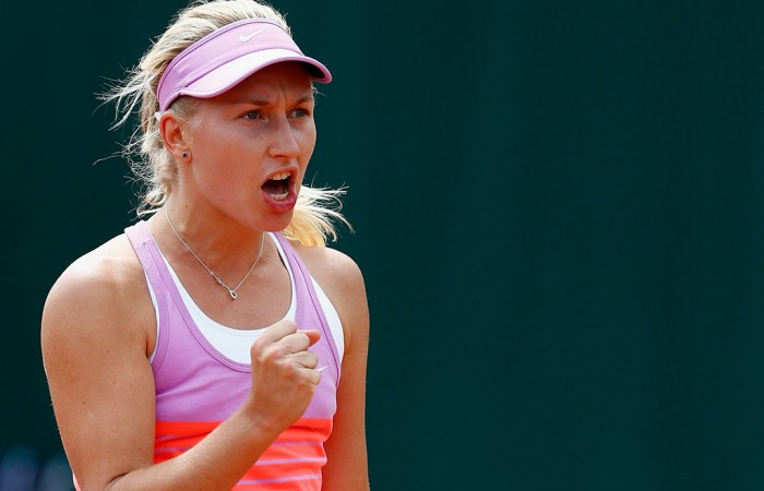 Daria Gavrilova in action during her first round win over Johanna Larsson at Roland Garros 2015; Getty Images
