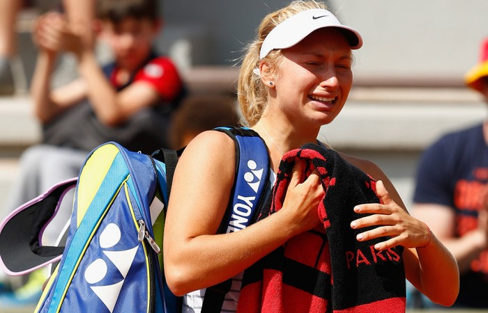 Daria Gavrilova exits the court after being forced to retire from her second-round match against Sabine Lisicki at Roland Garros; Getty Images