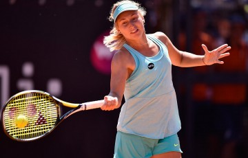 Daria Gavrilova in action during her first-round victory over Belinda Bencic at the Internazionale BNL d'Italia in Rome; Getty Images