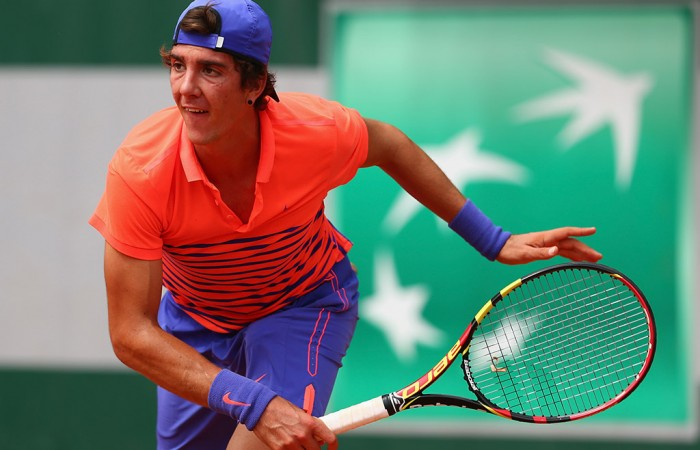 Thanasi Kokkiankis in action during his first round win at Roland Garros 2015; Getty Images