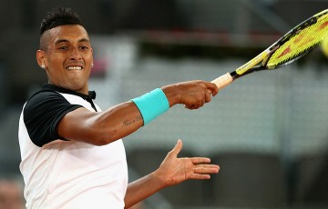 Nick Kyrgios in action during his third-round victory over No.1 seed Roger Federer at the Mutua Madrid Open; Getty Images