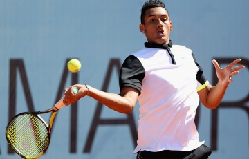 Nick Kyrgios in action during his first-round victory over Daniel Gimeno-Traver at the 2015 Mutua Madrid Open; Getty Images