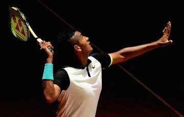 Nick Kyrgios in action in his third-round loss to John Isner at the Mutua Madrid Open; Getty Images