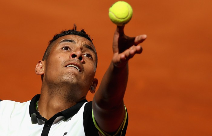 Kyrgios in action at the 2015 Mutua Madrid Open; Getty Images
