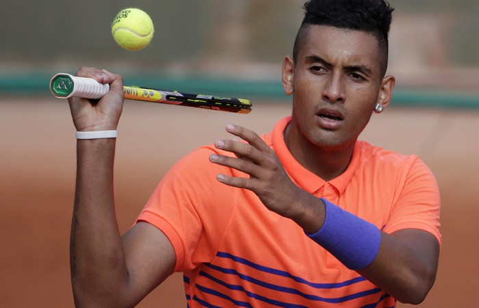 Nick Kyrgios in action during his first round win over Denis Istomin at Roland Garros 2015; Getty Images