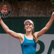 Olivia Rogowska celebrates her victory of Beatriz Haddad Maia to qualify for the main draw at Roland Garros; Elizabeth Xue Bai