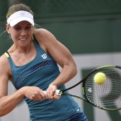 Olivia Rogowska in action during her first-round loss to Magdalena Rybarikova at Roland Garros; Getty Images