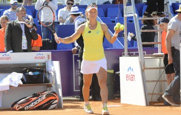 Sam Stosur celebrates a victory at the WTA Internationaux de Strasbourg;