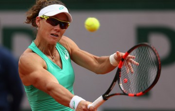 Sam Stosur in action during her third-round loss to No.2 seed Maria Sharapova at Roland Garros; Getty Images