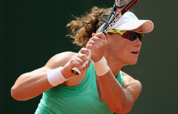 Sam Stosur in action during her first round win over Madison Brengle at Roland Garros 2015; Getty Images