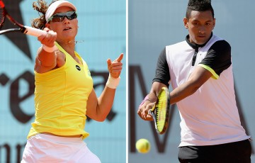 Sam Stosur (L) and Nick Kyrgios in action at the 2015 Mutua Madrid Open; Getty Images