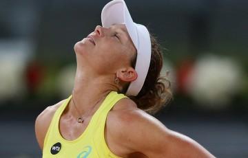 Sam Stosur reacts during her third round loss to Svetlana Kuznetsova at the 2015 Mutua Madrid Open; Getty Images