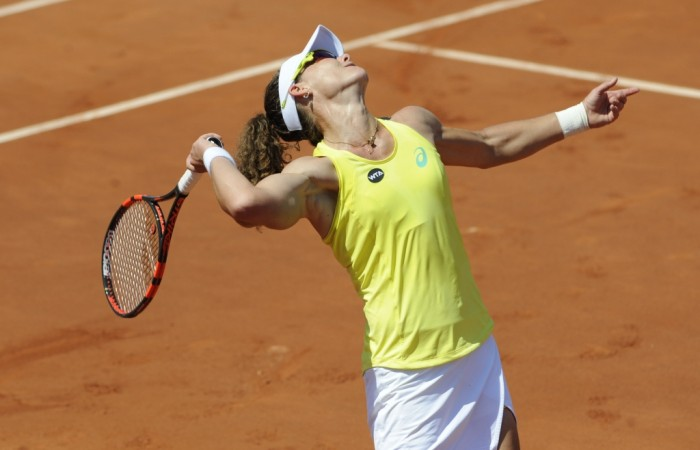 Sam Stosur in action at the Internationaux de Strasbourg; photo credit chryslenecaillaud.com